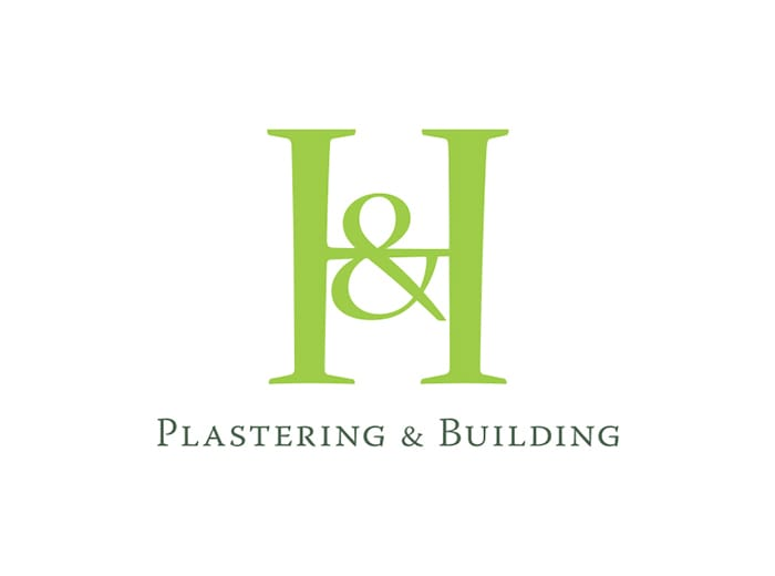 h and h building services logo design by geco designs